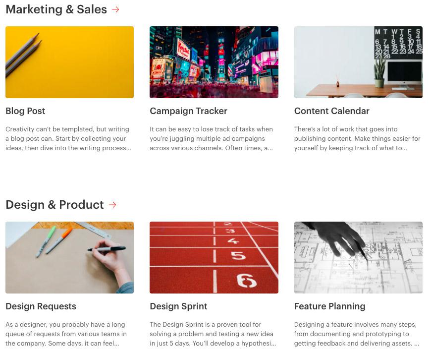 Šablony u nástroje Todoist, mezi kterými jsou například šablony pro Content Calendar, Design Request nebo Feature Planning.
