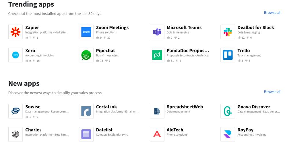 Tržiště aplikací Pipedrive Marketplace. Jsou v něm aplikace jako Zapier, Microsoft Teams, Trello či Xero.