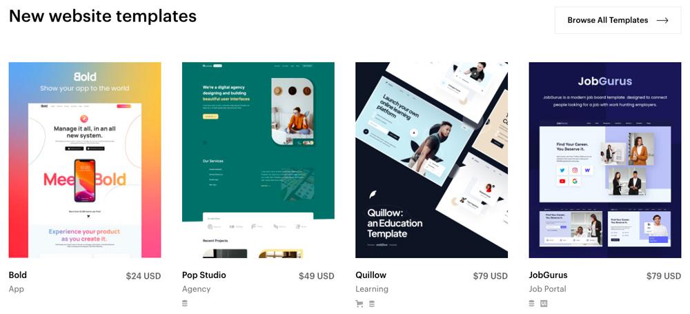 Čtyři šablony od Webflow, které mají velmi elegantní design. Šablony stojí 24, 49, 79 a 79 dolarů.
