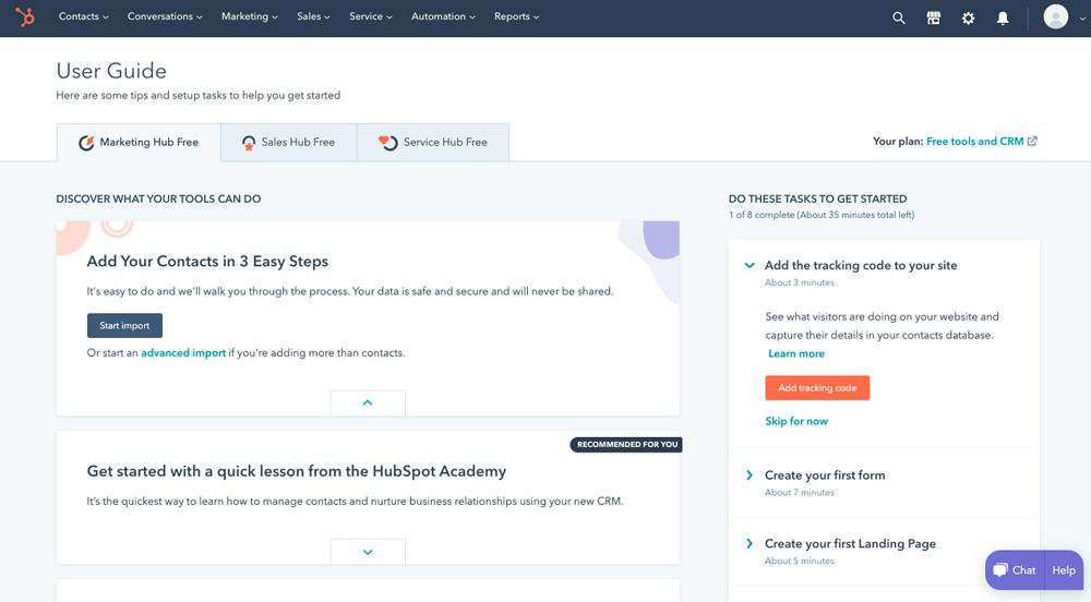 Úvodní tutoriál nástroje HubSpot. V tutoriálu si můžete vyzkoušet jednotlivé funkce jako například vytvořit landing page.