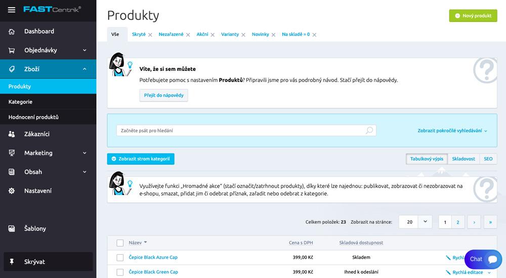 Uživatelské prostředí nástroje FastCentrik. Dominuje mu modrá barva a přehledné menu s několika sekcemi.