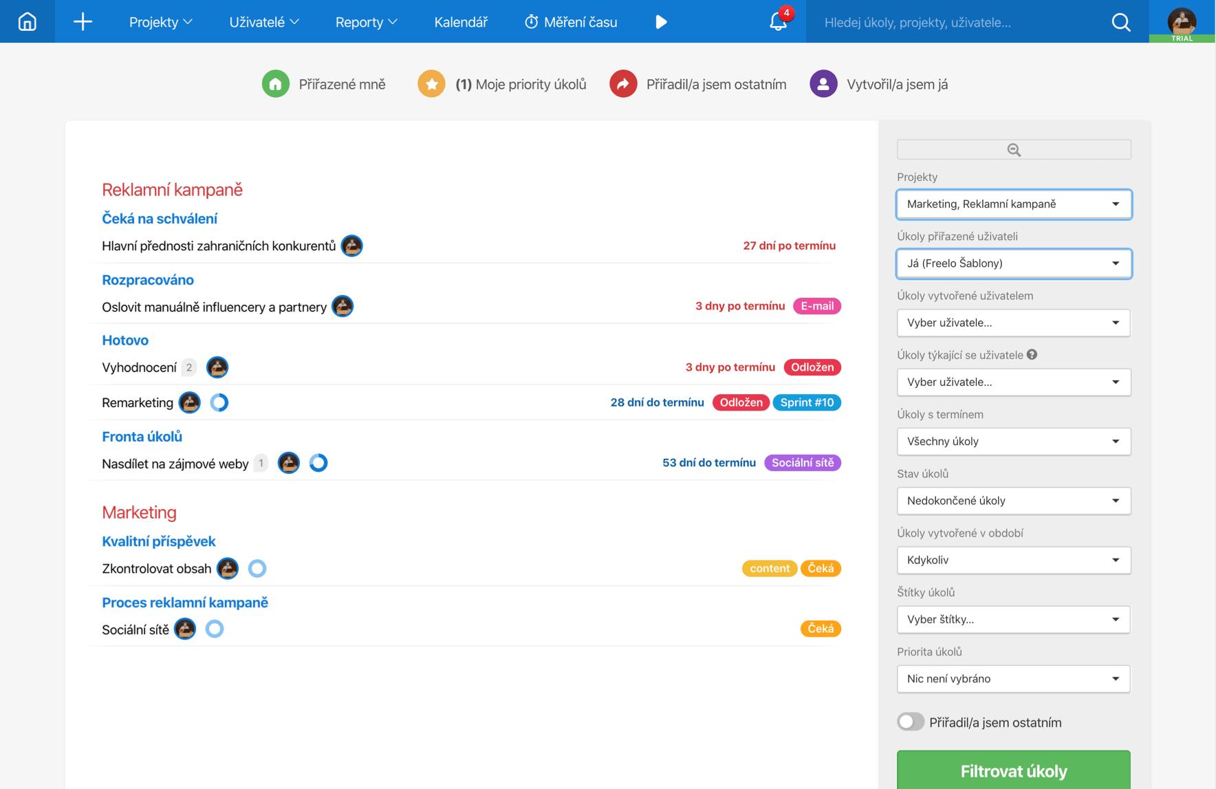 Uživatelské prostředí Freela, ve kterém je otevřen projekt Reklamní kampaně. Na stránce je seznam úkolů a jejich status.