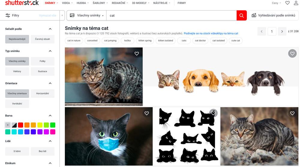 """Stránka fotobanky Shutterstock, na které je ve vyhledávání zadán výraz """"cat"""". Na stránce se ukazují fotky koček."""