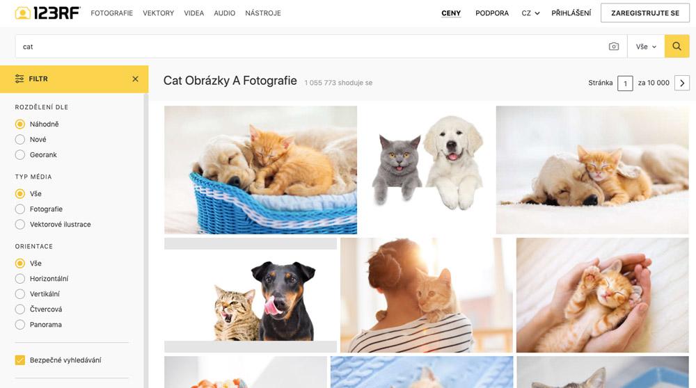 """Stránka fotobanky 123RF, na které je ve vyhledávání zadán výraz """"cat"""". Na stránce se ukazují fotky koček."""
