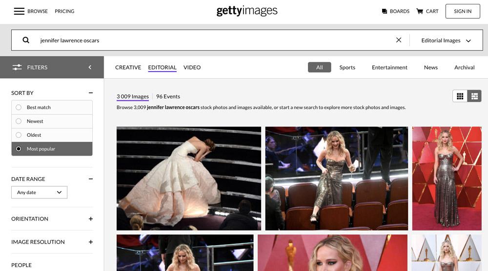 """Stránka fotobanky Getty Images, na které je ve vyhledávání zadán výraz """"jennifer lawrence oscars""""."""
