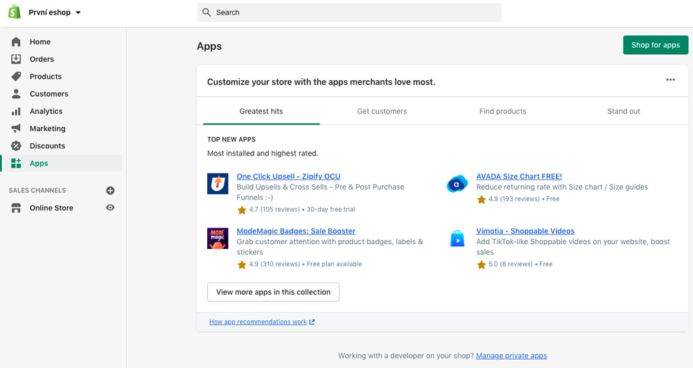Dashboard eshopového nástroje Shopify. V dashboardu je otevřená sekce s aplikacemi a doplňky.