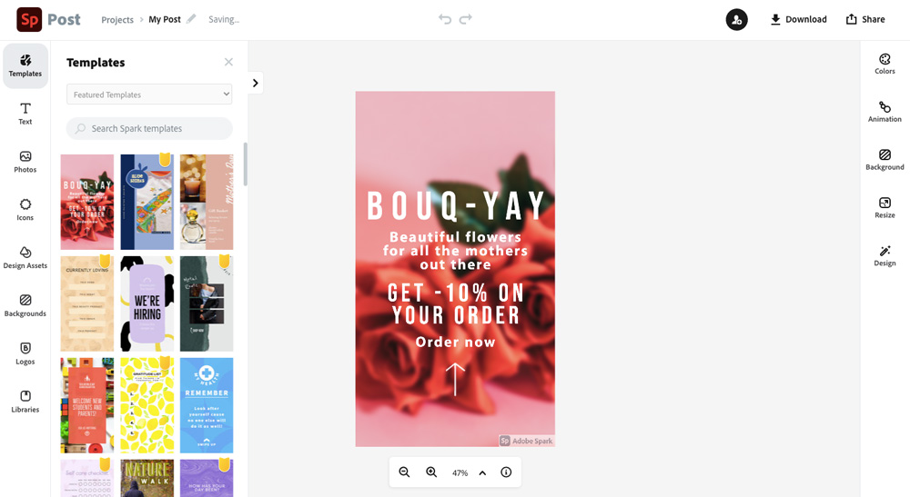 Dashboard nástroje Adobe Spark, ve kterém je otevřená růžová šablona s anglickým textem.