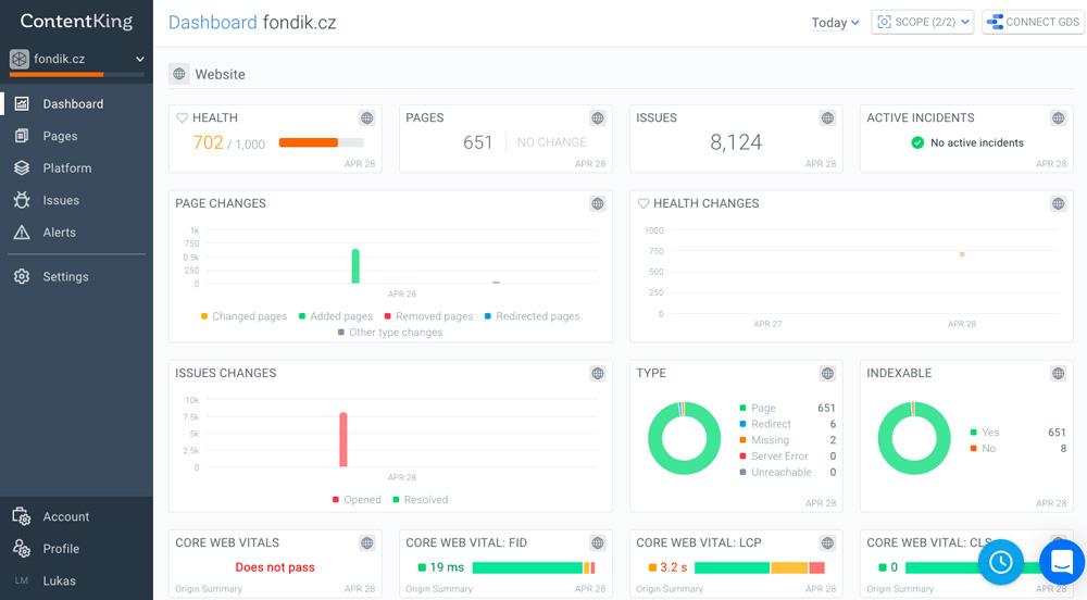 """Dashboard nástroje ContentKing, ve kterém je otevřen web Fondik.cz. Ukazuje se zdraví webu, """"pages"""", """"issues"""" a další věci."""