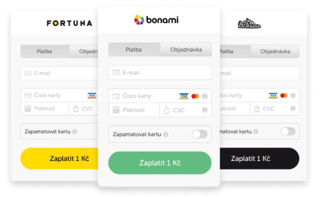 Platební brána GoPay z pohledu uživatele. Vidíme celkem 3 obrazovky s platební branou pro Fortunu, bonami a Footshop.