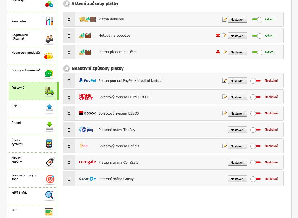Aktivace platební brány GoPay na e-shopovém řešení Eshop-rychle. K aktivaci je potřeba kliknout na bílé tlačítko.