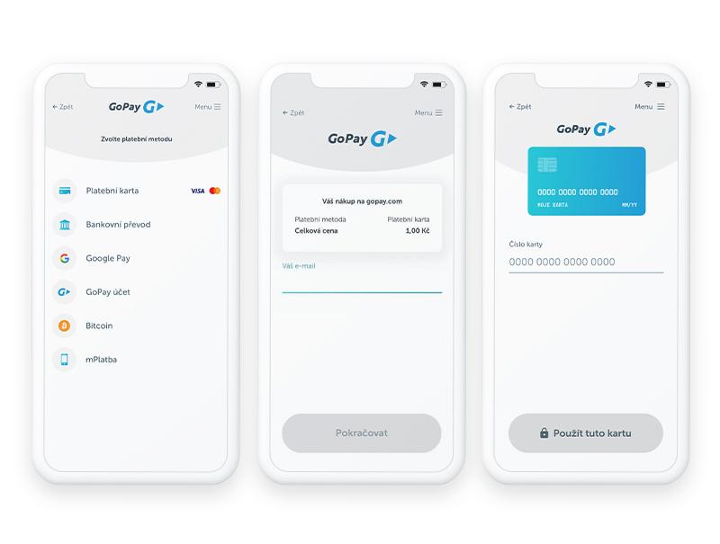 Tři mobilní obrazovky, na kterých je ukázána platební brána GoPay. Vidíme platební metody i proces nákupu přes GoPay.