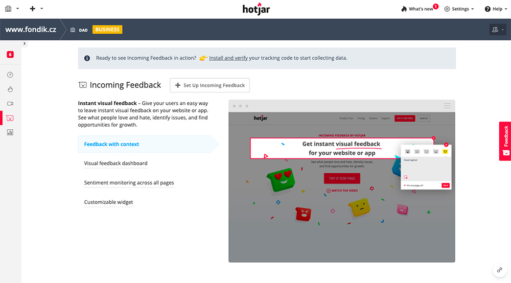 Dashboard nástroje Hotjar, ve kterém probíhá vytváření formuláře pro sbírání zákaznického feedbacku.