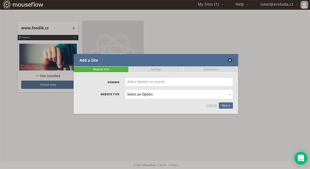 Dashboard nástroje Mouseflow, ve kterém právě probíhá přidání stránky, u které se bude analyzovat návštěvnost.