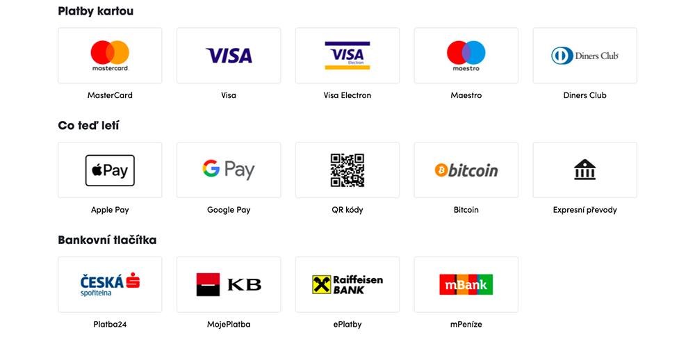 Seznam nejpopulárnějších platebních metod, které podporuje platební brána ThePay.