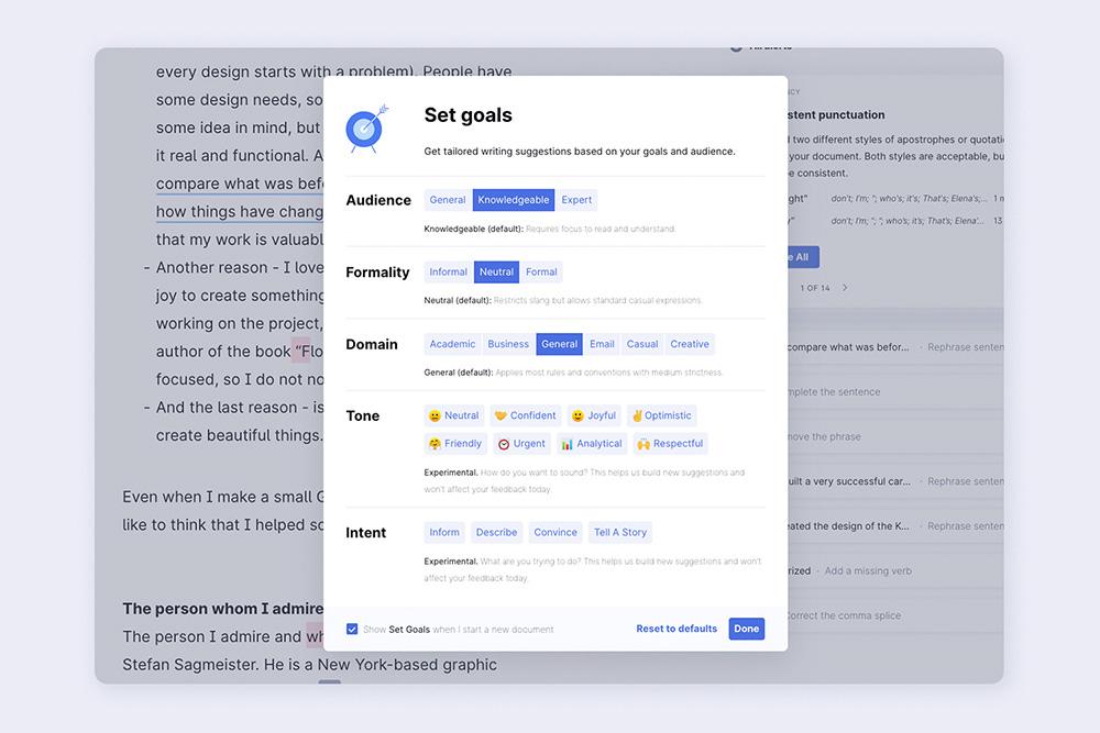 Nastavení cílů na Grammarly - nastavit můžete například úroveň formálnosti, tón i typ publika, pro které je váš text určený.