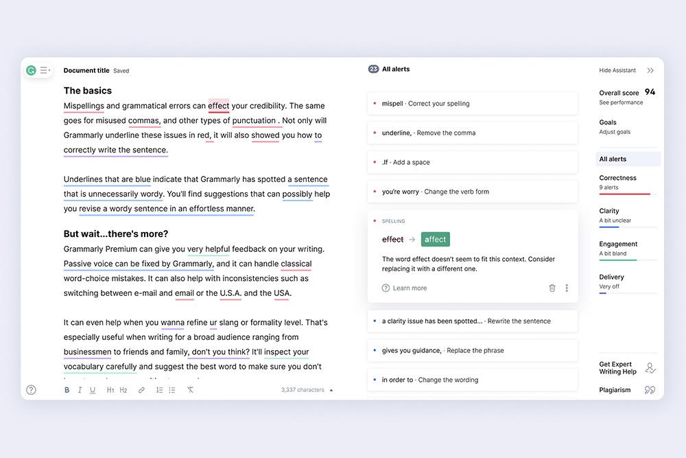 Editor Grammarly upozorňuje na všechny chyby a navrhne vám, jak text vylepšit.