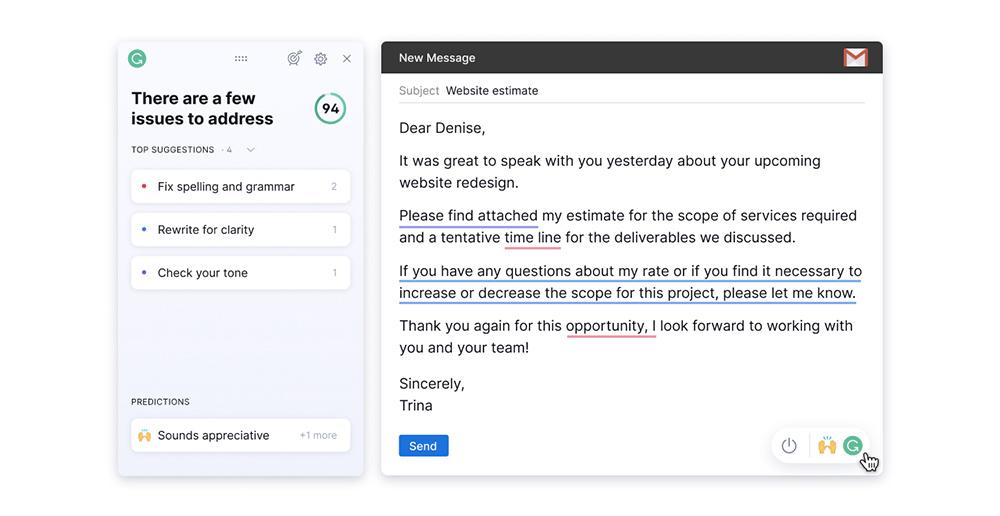 Ukázka toho, jak Grammarly opravuje a vylaďuje texty při psaní e-mailu. Nabídne vám přehled doporučení, které váš text zlepší