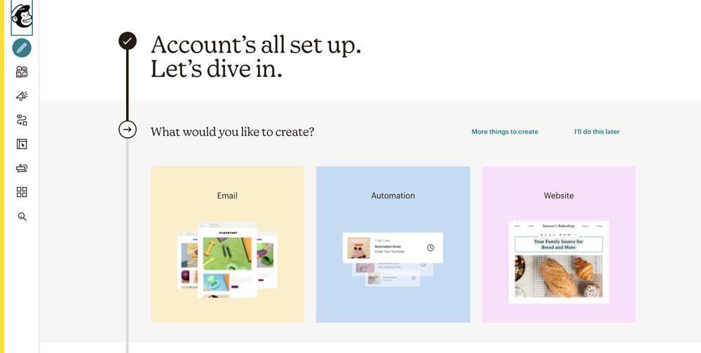 Rozcestník Mailchimpu - v nabídce je vytvoření e-mailu, automatizace a webové stránky.