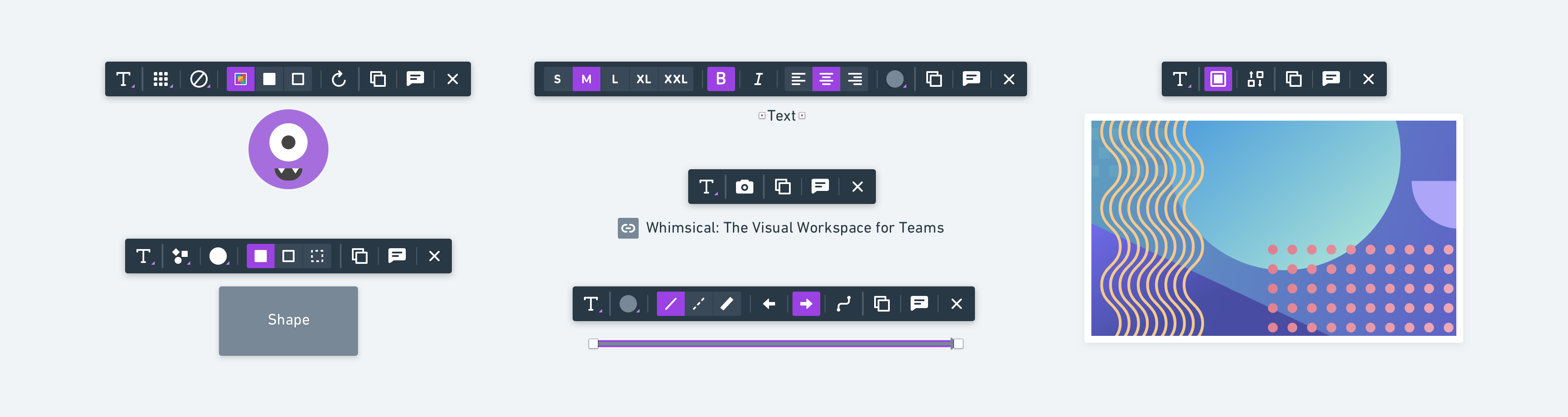 All 6 of the different contextual toolbars for Whimsical Flowcharts