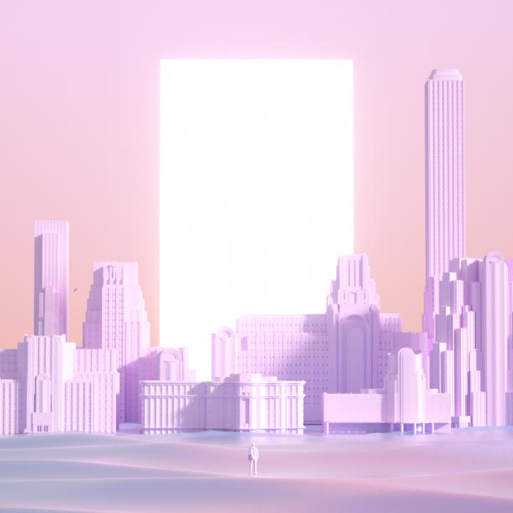 Ville abstraite et iridescente, dans des tonalité graphique moderne.