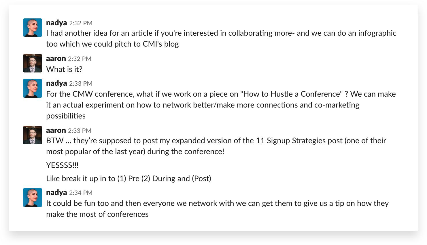 The conference plan begins — Slack 1