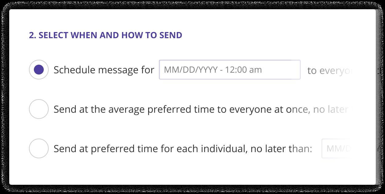 Screenshot of Zelo scheduling options