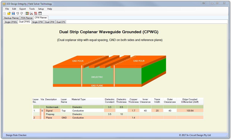 iCD CPW Planner Microstrip Coplanar Waveguides моделирование копланарных волноводов