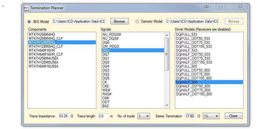 iCD Termination Planner Согласование импеданса драйвера сигнала с импедансом линии передач