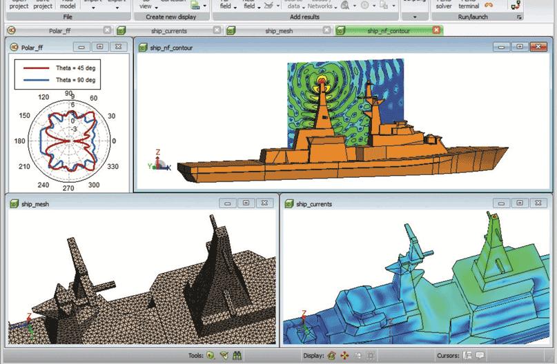 Altair Feko Визуализация результатов позиционирования антенны на корабле
