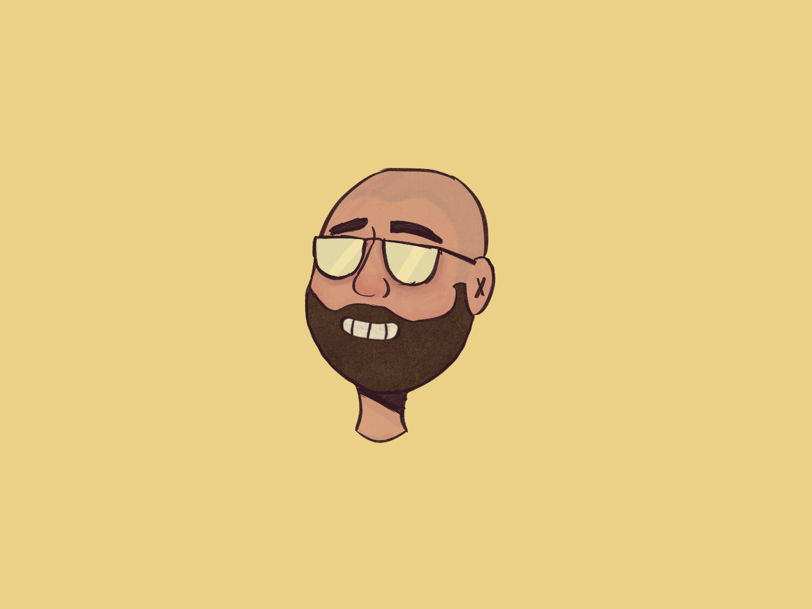 """Illustration of an avatar based on Jozef's face, being used as his """"about me"""" image."""