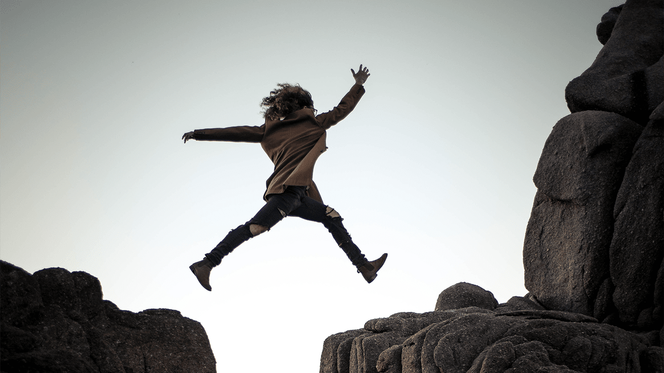 Jumping over rocks