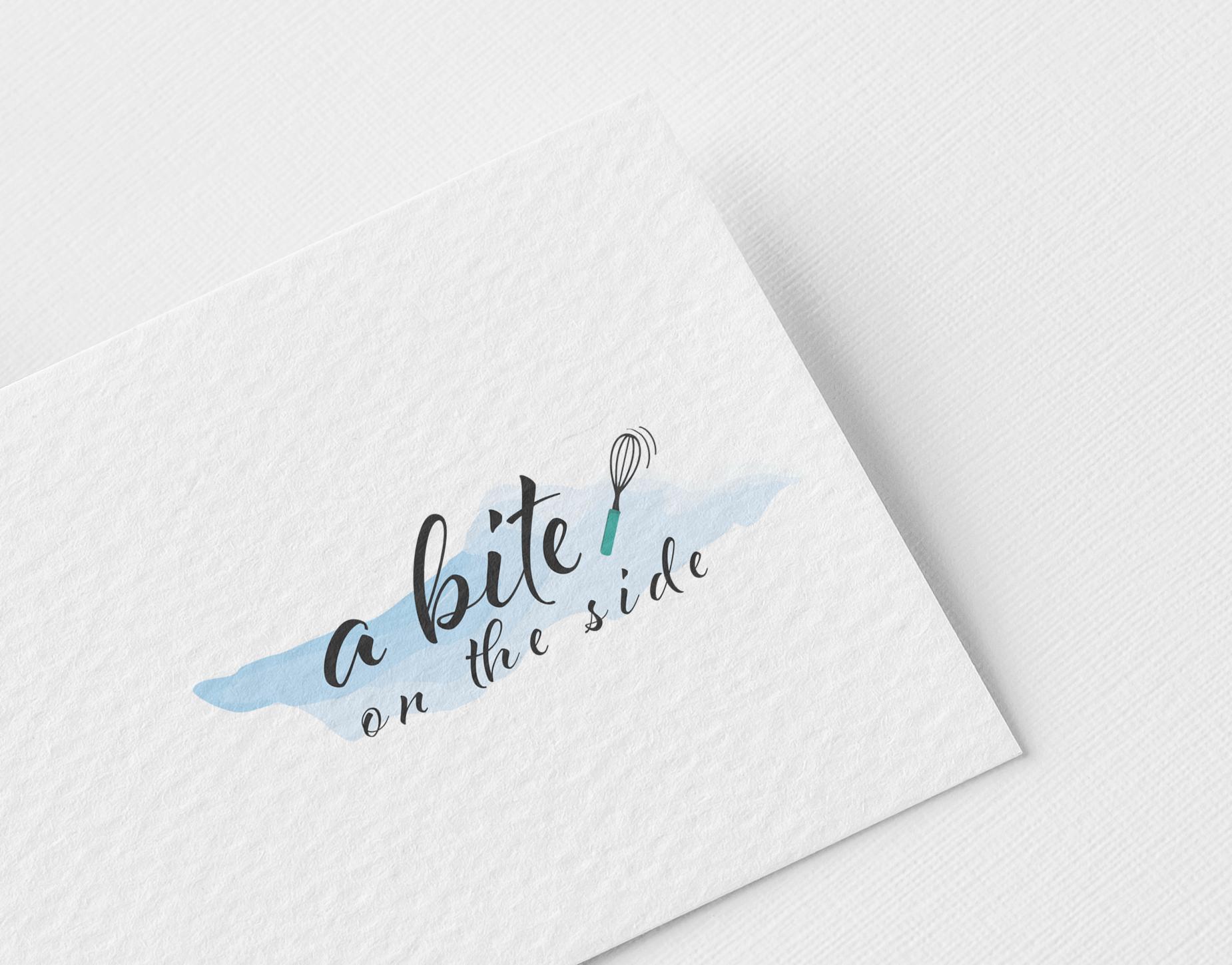A food logo design and branding design printed on a business card design