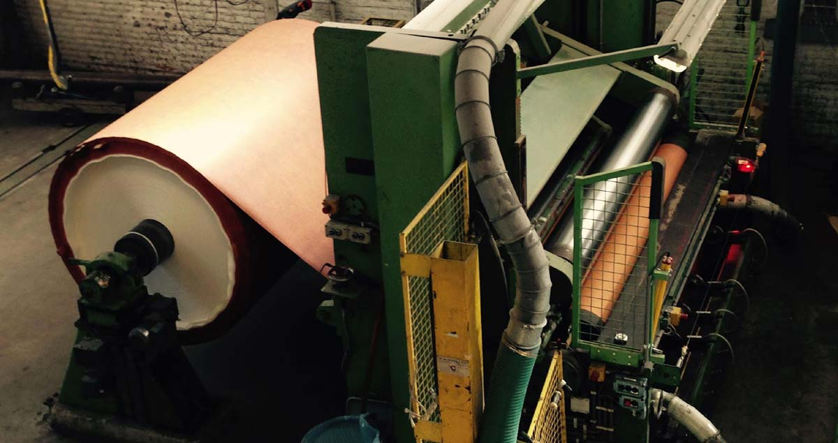 Folia paper being produced on a mill