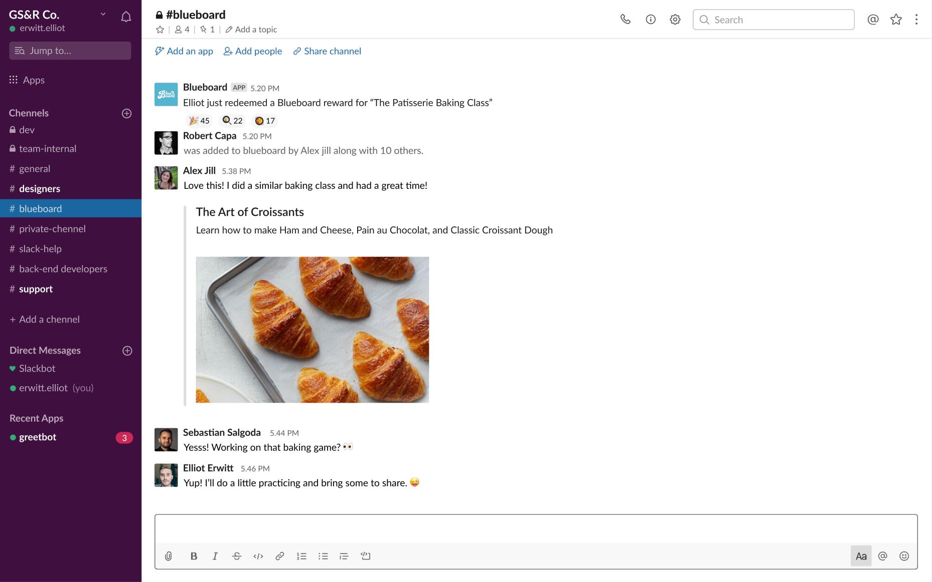 Blueboard Integration with Slack