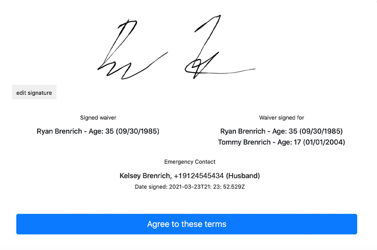 a waiver signing screenshot