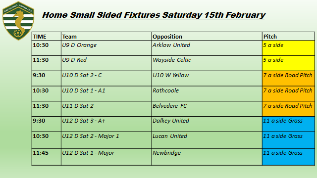 Home Small Sided Fixtures Saturday 15th February