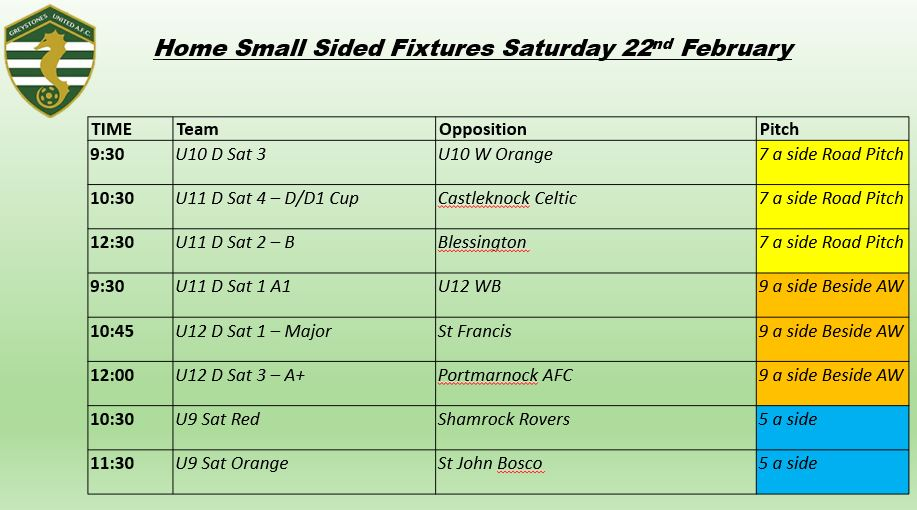 Home Small Sided Fixtures Saturday 22nd February