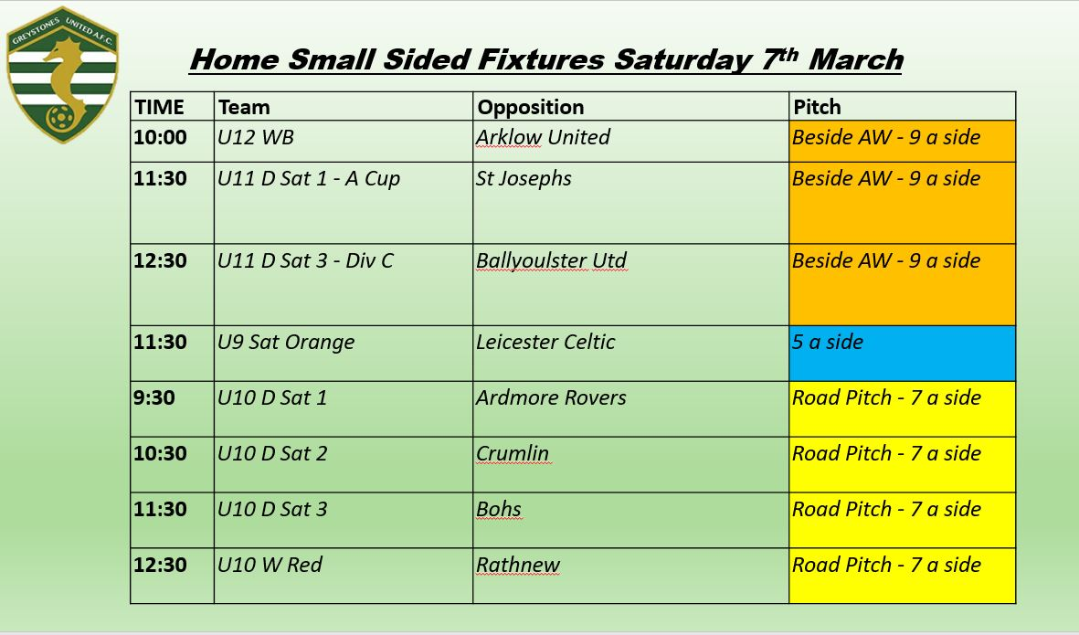 Home Small Sided Fixtures Saturday 07th March