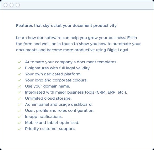 Request a Bigle Legal document automation software demo