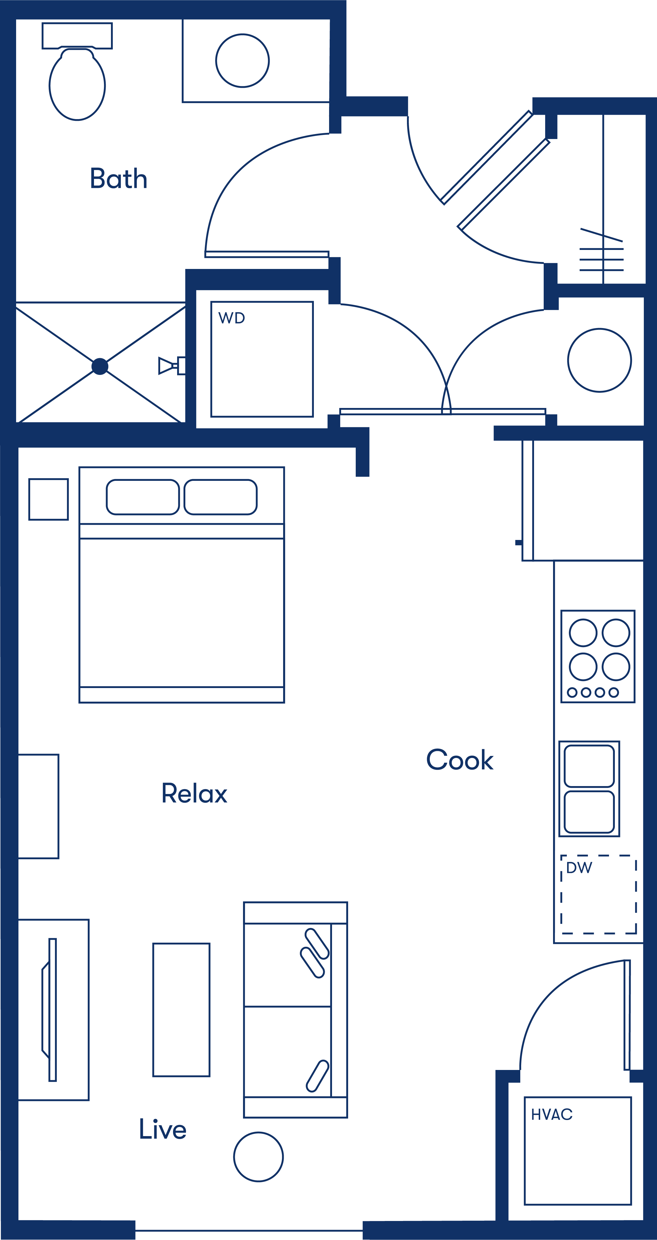 Simple floorplan layout of the micro apartment