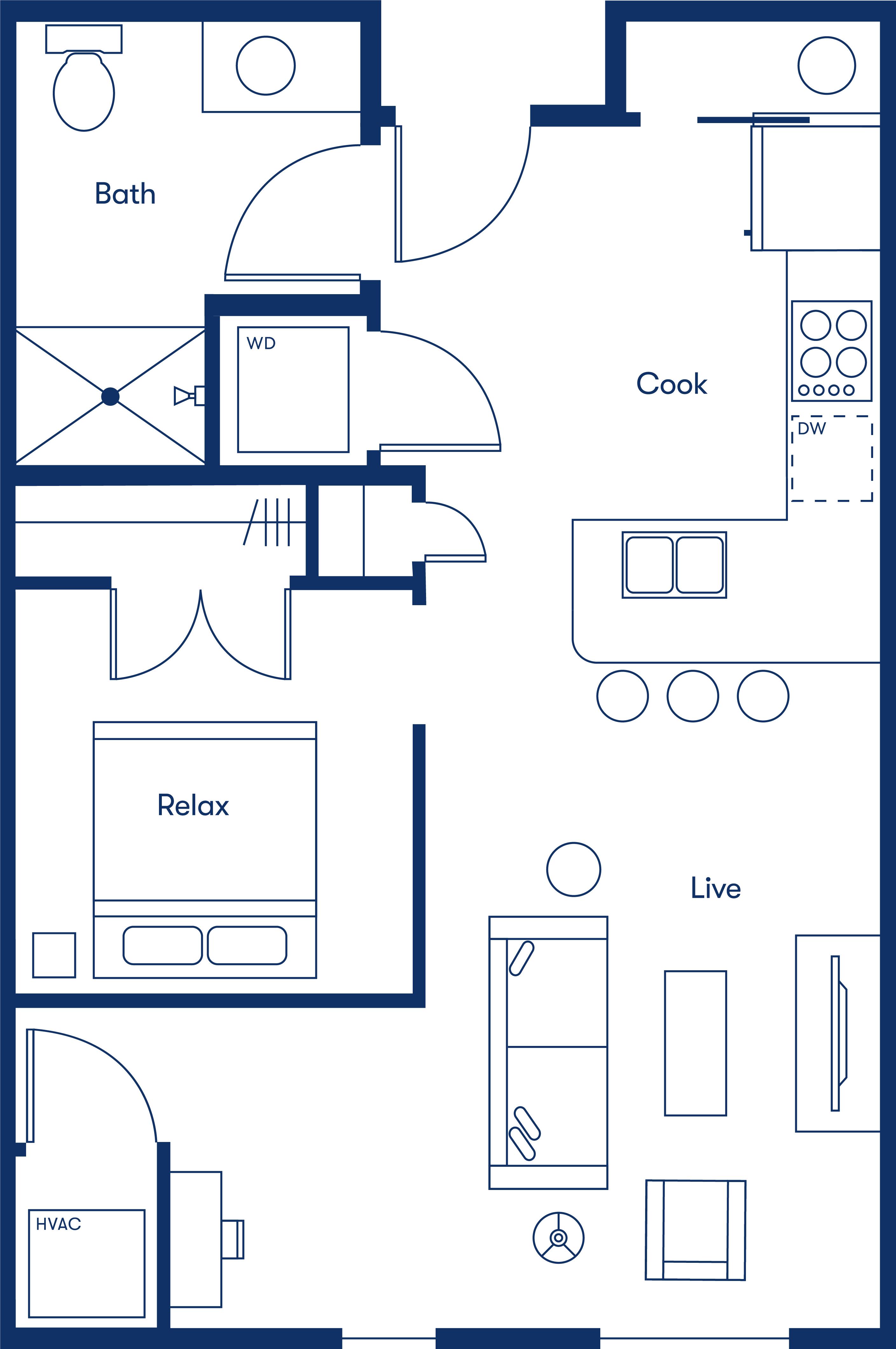 Simple floorplan layout of the Junior 1 Bedroom apartment