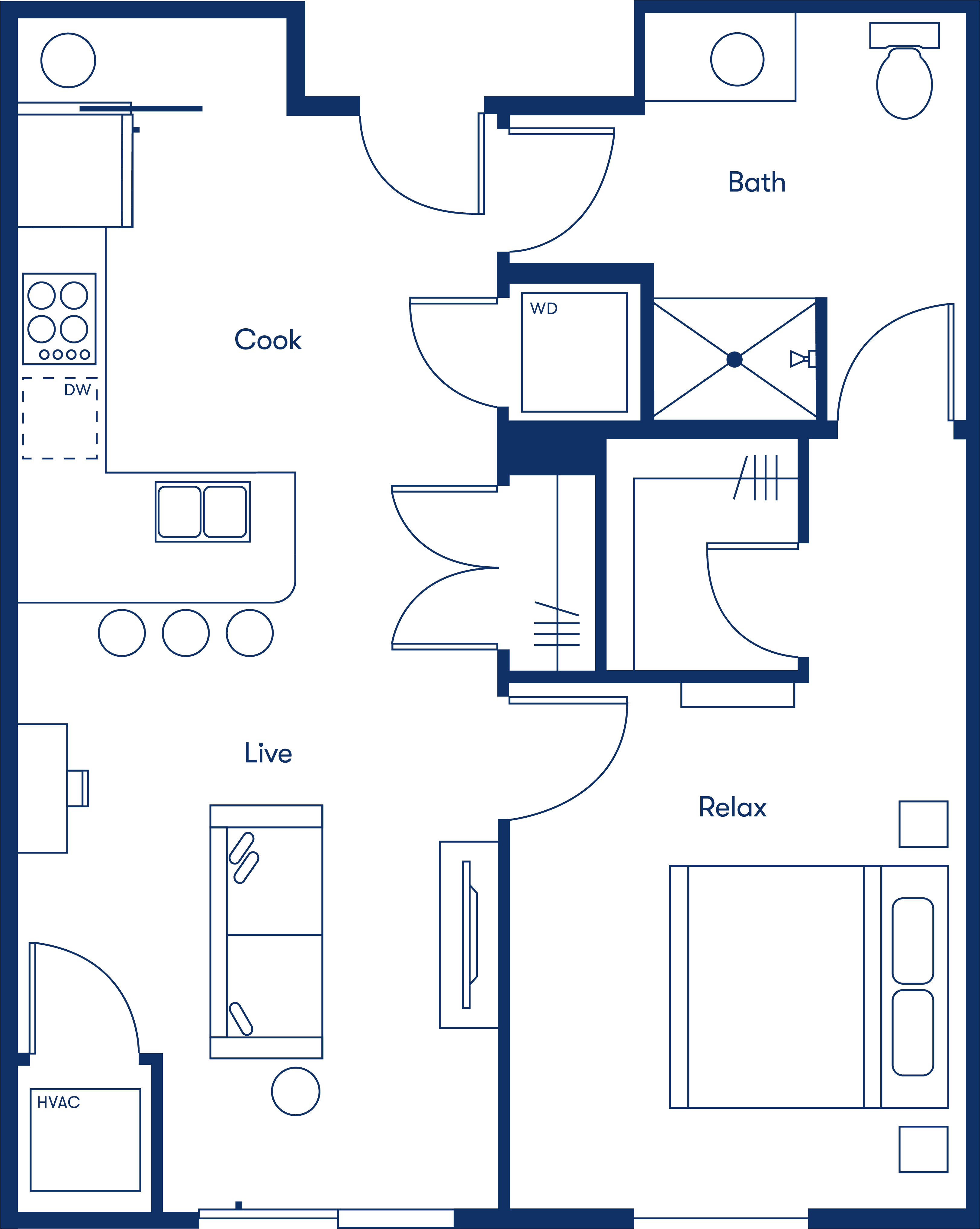 Simple floorplan layout of the 1 Bedroom apartment