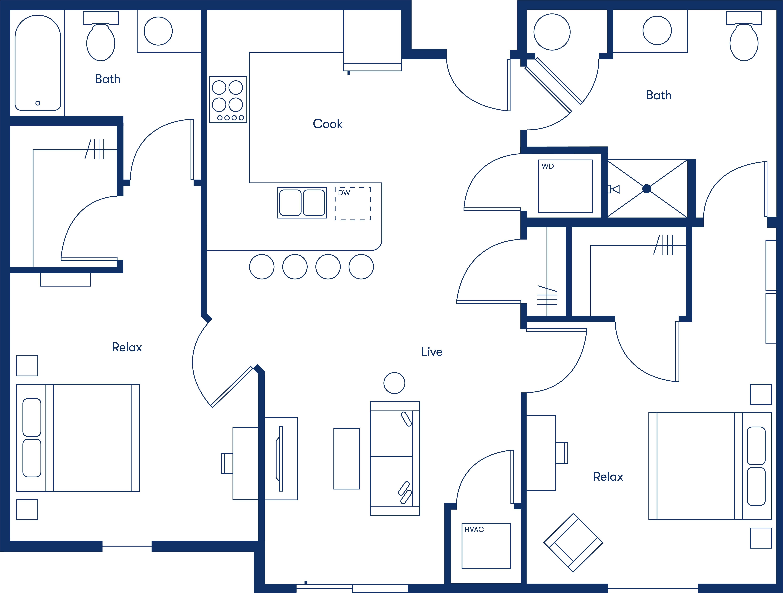 Simple floorplan layout of the 2 Bedroom apartment