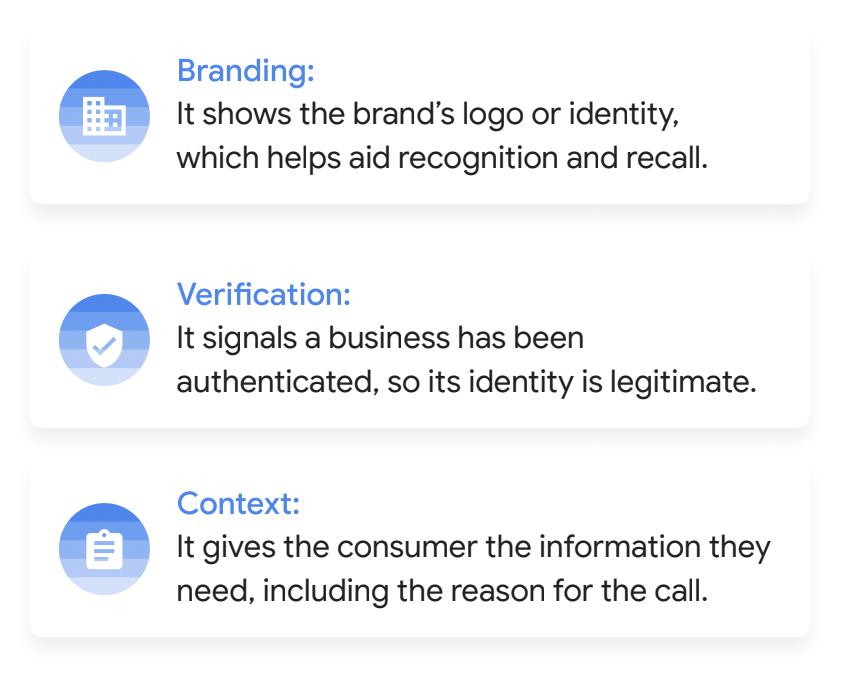 Branding, Verification, Context benefits of Verified Calls by Google