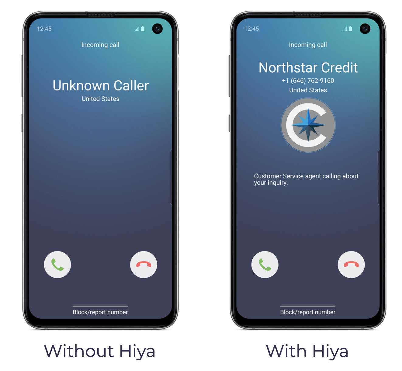 With & Without Hiya Connect phone mockups