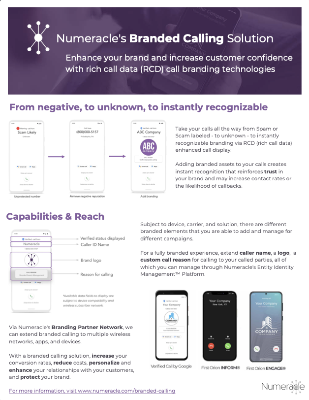 Branded Calling One-Page Overview by Numeracle