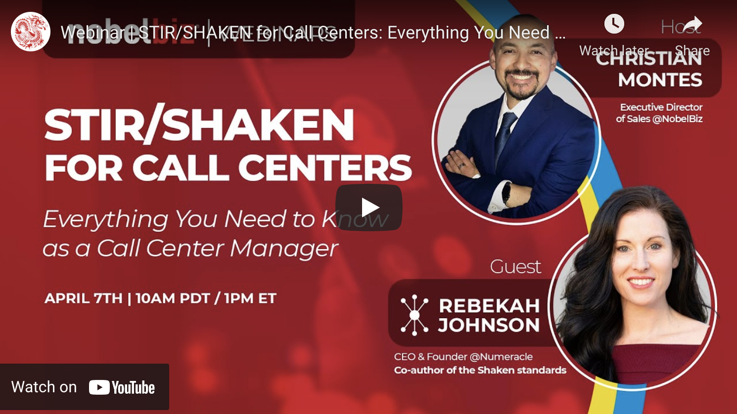 STIR/SHAKEN for Call Centers Webinar hosted by NobelBiz