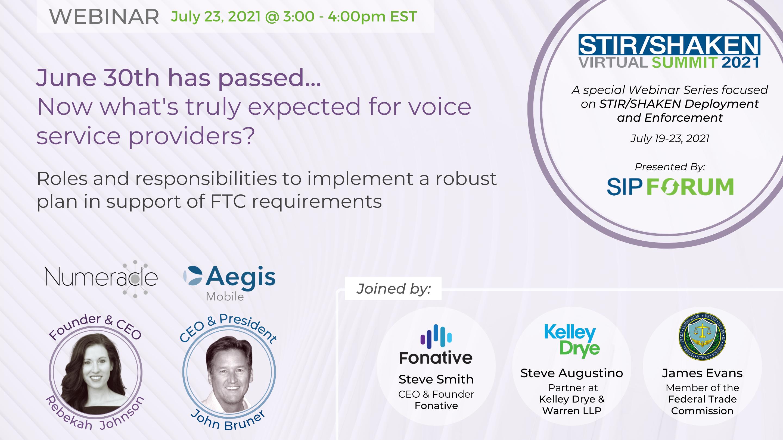 2021 SIP Forum STIR/SHAKEN Virtual Summit