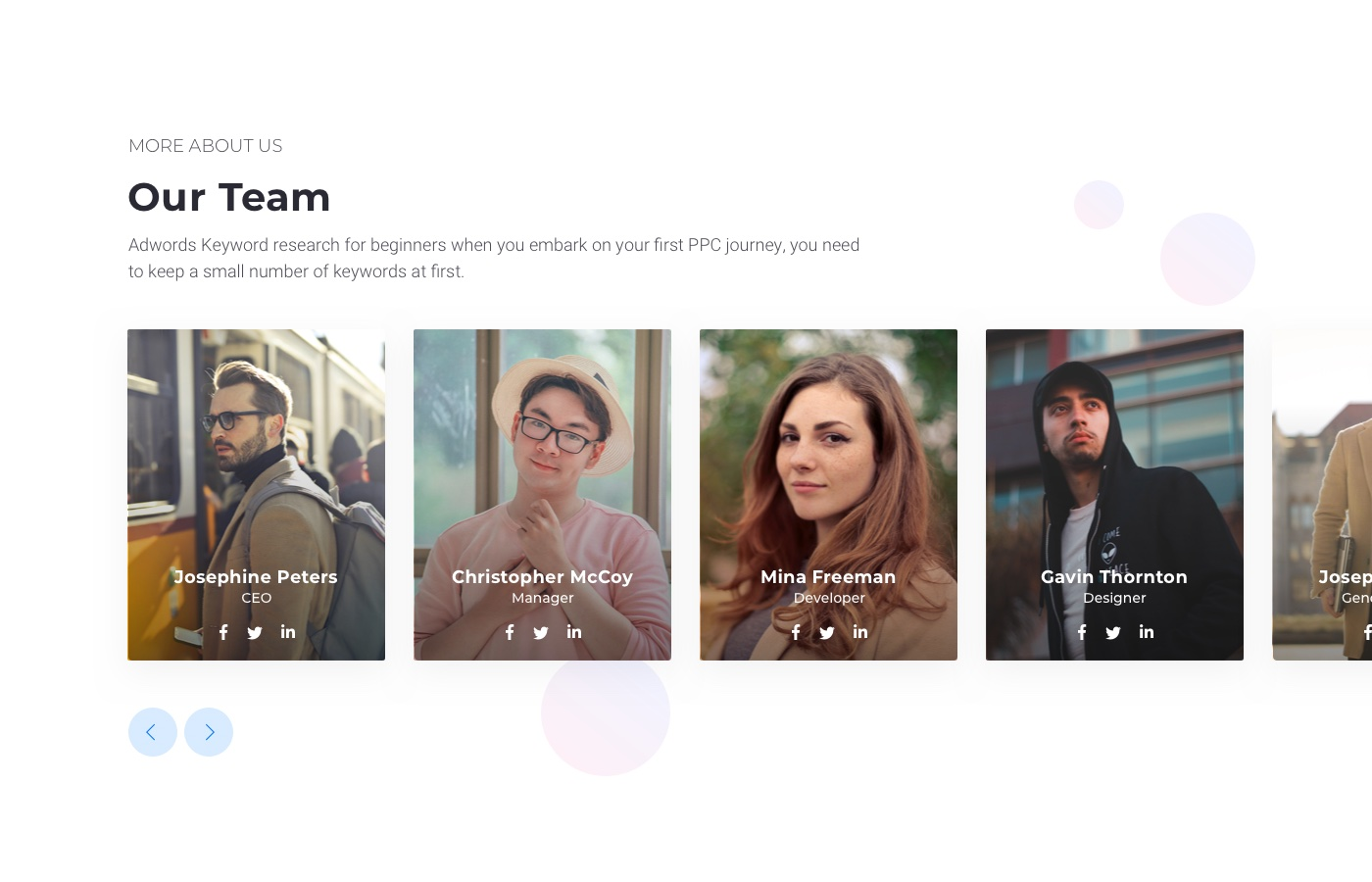 Cardify Our Team Page