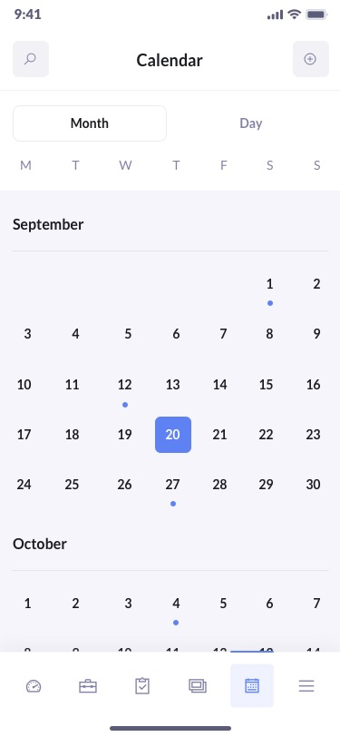 betacrm preview calendar mobile